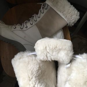 UGG Shoes - UGG boots. Off white color of leather and fur.